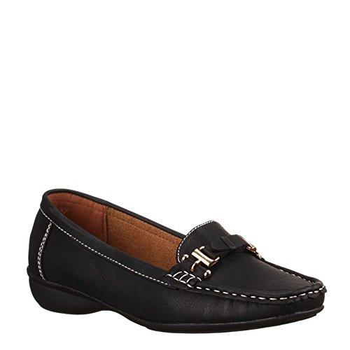 King Of Shoes Klassische Bequeme Damen Mokassins Slipper Schuhe Flats Profilsohle 68 Schwarz 6802