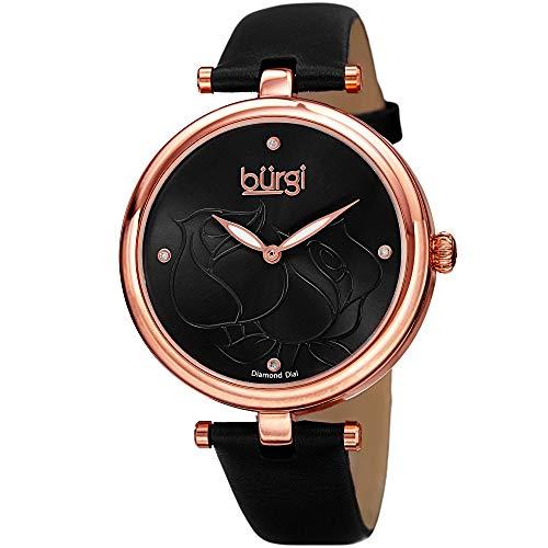 Diamond Dial Gold Black (Burgi Women's BUR151BKR Rose Gold Quartz Watch With Black Diamond Dial And Black Leather Strap)