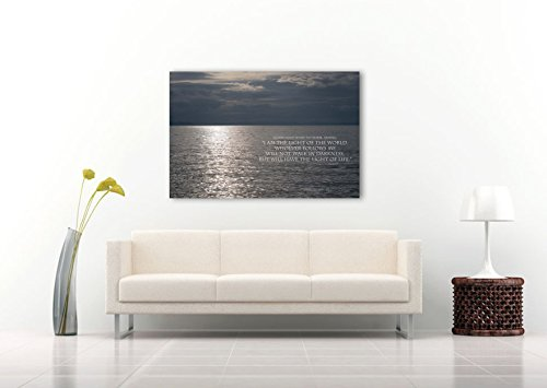 Nature Photography on CANVAS Christian Wall Art John 8:12 Bible Verse Religious Gift Sunset Photographic Print Gray Minimalist Home Decor Ready to Hang 8x12 12x18 16x24 20x30 24x36