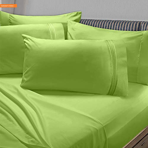 Mikash New Soft Premier 1800 Collection 6pc Bed Sheet Set with Extra Pillowcases - Queen, Garden Green | Style 84600400