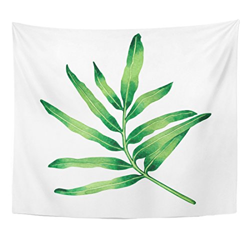 Emvency Tapestry Watercolor Painting Fern Green Leaves Palm Leaf White Hand Tropical Exotic for Vintage Hawaii Home Decor Wall Hanging for Living Room Bedroom Dorm 50x60 inches by Emvency