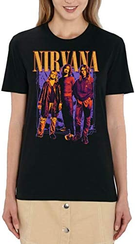 Oficjalny Nirvana Colour Logo & Band Ladies Black T-Shirt: Odzież