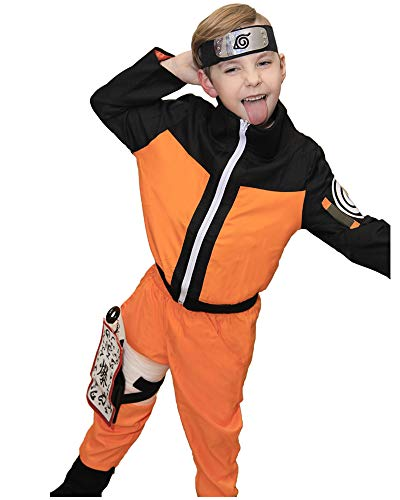 DAZCOS Kids Size Boys Anime Uzumaki Childhood Cosplay Costume (Child M) Orange