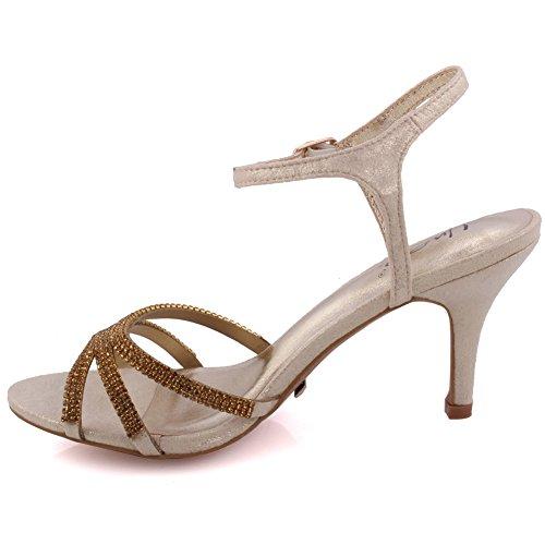 Unze La tarde media del alto talón de las nuevas mujeres de las señoras 'Folio', Wedding, zapatos del partido del baile de fin de curso clasifica 3-8 Gold