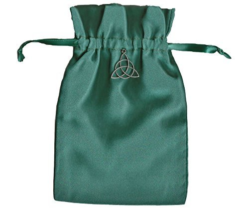 (Tarot Rune Gift Bag with Irish Celtic Knot Triquetra Charm, Forest Green Satin 5
