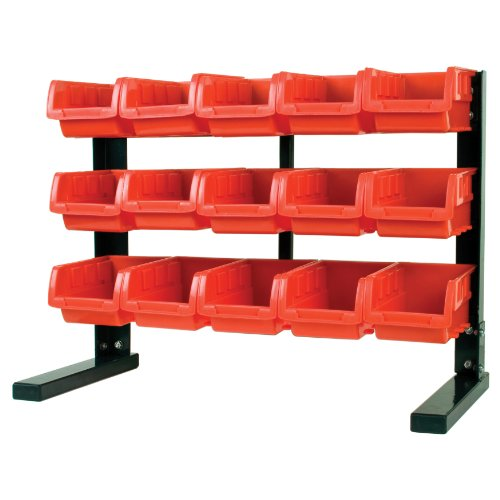 Performance Tool W5186 15-Bin Table Top Storage Rack, Red