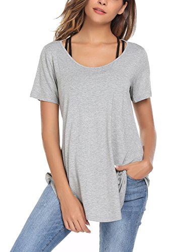 ELESOL Ladies Fashion Active Tunic Tops Pullover Open-Back Running Workout Shirts Grey M