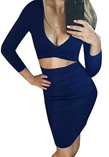 Clubwear Sexy Cut Long Bandage Midi Bodycon Out Memorose Sleeve Navy Womens Dress x1wqBnT5T8