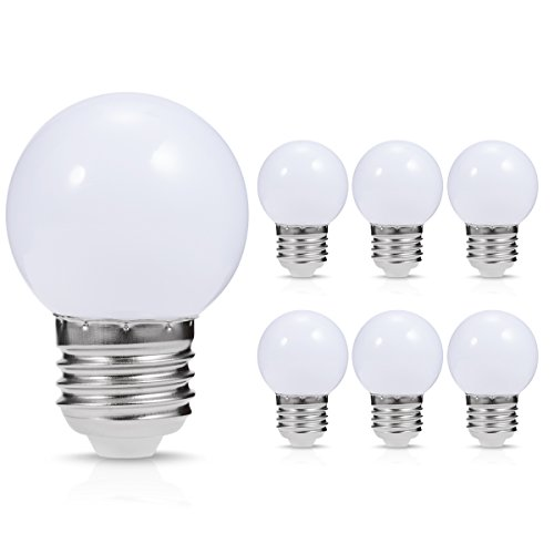 JandCase LED Globe White Light Bulbs, 1W, Opaque, Tiny G14 Bulbs for Christmas Tree Ornament, Halloween Blowup Lantern, Medium Base, 6 Pack