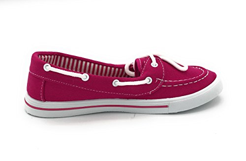 Berry Lace Comfy EASY21 Toe Shoe Blue Boat On Sneaker up Round Flat Slip Fuchsia Tennis Canvas FqSafdaw