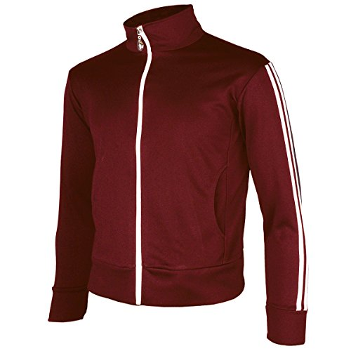 (myglory77mall Men's Running Jogging Track Suit Warm Up Jacket Gym Training Wear M US(XL Asian Tag) Wine)