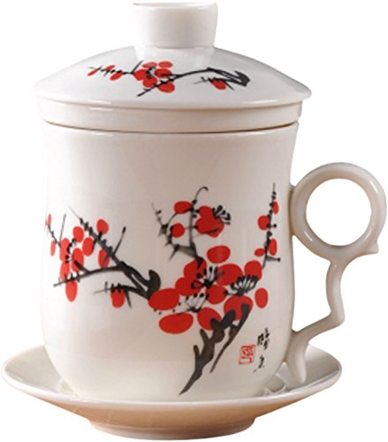 BandTie Convenient Travel Office Loose Leaf Tea Brewing System Teacup-Chinese Jingdezhen Blue and White Porcelain Tea Cup Infuser 4-Piece Set with Tea Cup Lid and Saucer (Red Wintersweet)