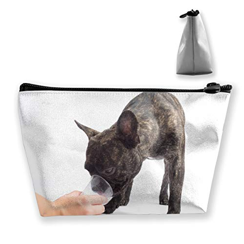 CORPDA French Bulldogs Drinks A Water of A Glass. On White Background Travel Cosmetic Bag Storage Bag