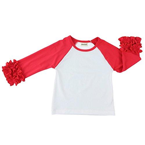 Wennikids Little Girls' Long-Sleeve Ruffle T-Shirt Large Red/White
