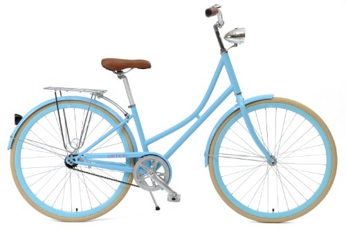 Critical Cycles Dutch Style Step-Thru 1-Speed Hybrid Urban Commuter Road Bicycle, Sky Blue, Small/38cm