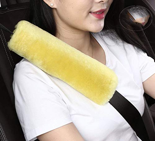 2pcs Auto Genuine Sheepskin Seat Belt Covers Pads,Safety Fuzzy Car Seat Belt Strap Cover Neck Cushion Protector Seatbelt Shoulder Pad for Kids Adults in Soft Natural Australia Pure Wool,Yellow ()