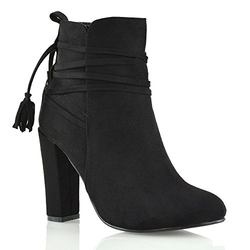 Suede Zip (ESSEX GLAM Womens High Block Heel Black Faux Suede Lace Up Zip Ankle Boots 7 B(M) US)
