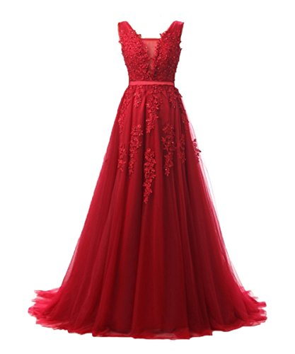 (Elegant Sleeveless Prom Dress Lace Tulle Maxi Evening Formal Gown Plus Size Homecoming Dresses Burgundy,Size 14)