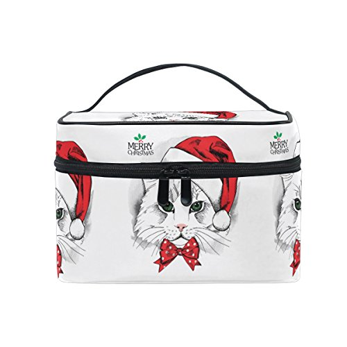 Price comparison product image Cosmetic Bags Merry Christmas Hat Cartoon Head Large Travel Makeup Organizer Double Zipper Toiletry Pouch Bag