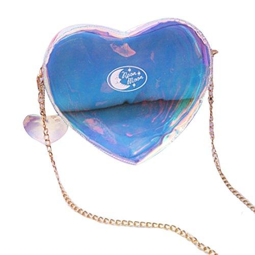 Phone Heart Casual Mily Transparent Women Crossbody Pink Bag Bag Fashionable Laser Shape fUAzqtwz1