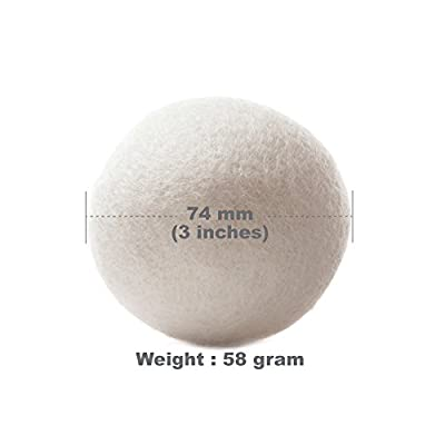EcoJeannie (WB0006 - 6 Pack) Wool Dryer Balls - Premium XL Organic Eco-Friendly Natural Unscented Non-Toxic Felt Laundry Balls - Natural Anti-Static Chemical Free Fabric Softener Static Guard - Handmade in Nepal with 100% Natural New Zealand Premium Wool