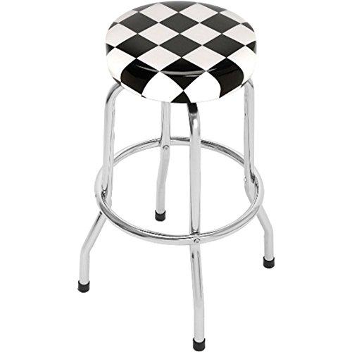 Single Foot Ring Swivel Stool - Checkered Flag Bar Stool