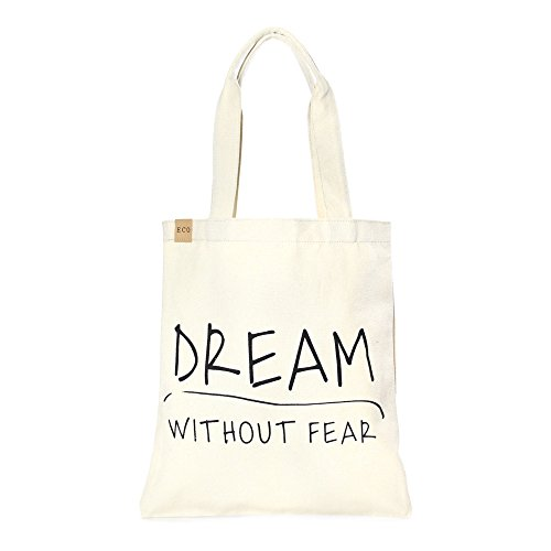 anvas Stylish Printed Fashion Shopping and Travel Tote Bag (DREAM WITHOUT FEAR) (Cotton Eco Tote)