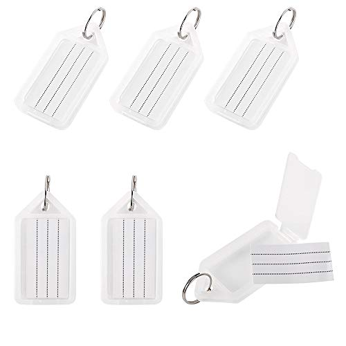 InterUS 25PCS Plastic Key Tags with Split Ring Label Window and an Open Cover Gadget