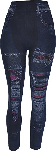 (Hand By Hand Aprileo Women's Leggings Jeans Look Printed Stretch [48 Pattern](One Size))