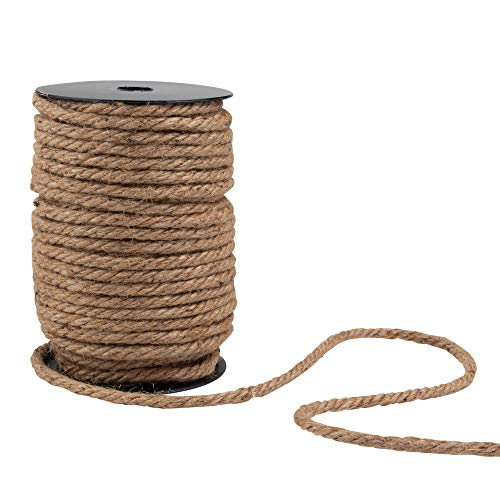 - Genie Crafts 6mm Natural Jute Hemp Rope, Thick Twine String for DIY Crafts, Gift Packing, 100 Feet