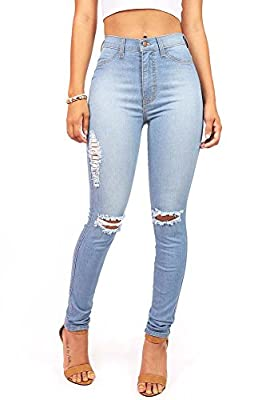 Vibrant Women's Juniors Faded Ripped Knee High Waist Skinny Jeans