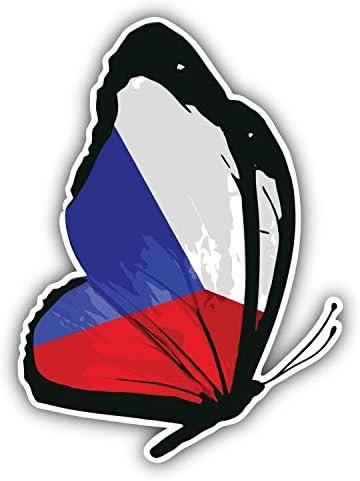 Czech Republic Flag Glossy Car Bumper Sticker Decal 5/'/' x 5/'/'
