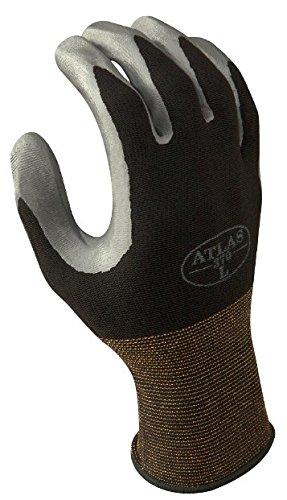 SHOWA Atlas 370BM-07 Nitrile Palm Coating Glove, Black, Medium (Pack of 12 Pairs)