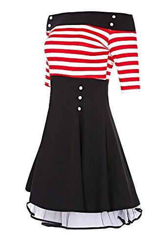 Vestito ad Streifen Weiß Donna linea a Dreams Laeticia 3 Maniche a Rot 4 tqUp5cwBxF