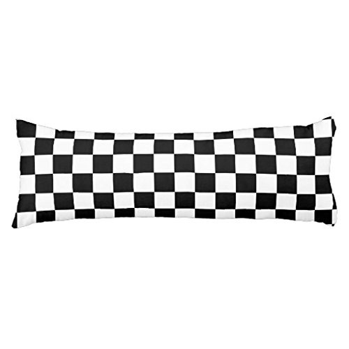 Checkered Pillow (Unique Body Pillow Pillowcases for Kids Checkered Flag Pattern Body Pillow Cover with Zipper 20 x 54 (The Filler Not Include))
