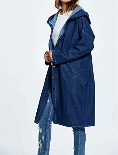 Jeans Jeans Jeans Jeans Libero Giacca Dunkelblau Dunkelblau Dunkelblau Primaverile Lunga Maniche Battercake Outerwear Cappotto Casuale Cappotto Autunno Tendenza Moda Blu Elegante Giaccone Relaxed Donne Incappucciato Donna Tempo Lunghe zSdppqA