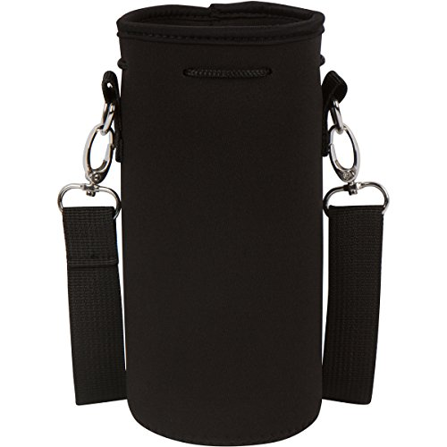 "IMPROVED DESIGN - Neoprene Water Bottle Holder Bag Pouch Cover, Insulated Water Bottle Carrier (32 oz / 1-1.5L) w/ 49"" Adjustable Padded Shoulder Strap by MEK (Black)"