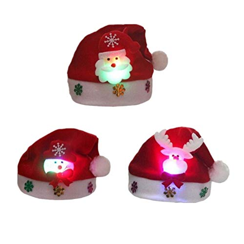 2018 Christmas Hat,Luoky 3 Pack of Santa Hats 3 Color LED Glowing Blinking Adults&Kids-Make in USA (RED, Kids)
