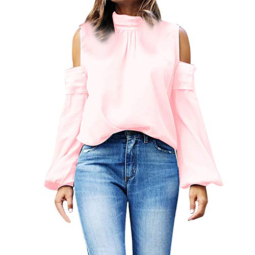 GOVOW Off Shoulder Tops for Women Plus Size - Bow Collar Long Sleeve Casual -
