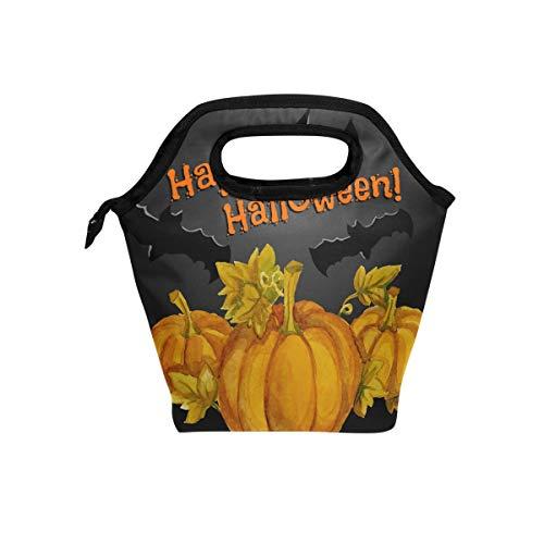 Anneunique Custom Hallowen Pumpkin Insulated Neoprene Lunch Box Bag,Bat Pumpkin Portable Lunch Tote Bag Organizer for Men Women Adult Kids Boys Girls ()
