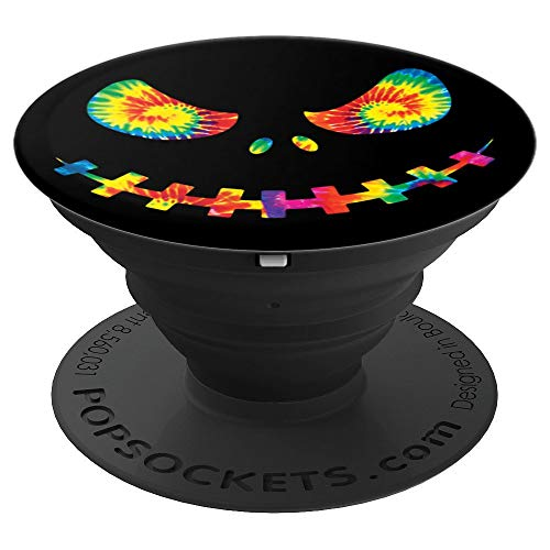 Bright Tie Dye Pumpkin Jack O Lantern Face Halloween - PopSockets Grip and Stand for Phones and -