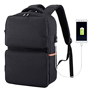 Water Resistant Laptop Backpack with USB Charging Port, Business Travel Backpack Anti Theft Lock, Large Capacity Computer Backpack for 15.6 Inch Laptop, Best Gift for Traveling and Business (Black)