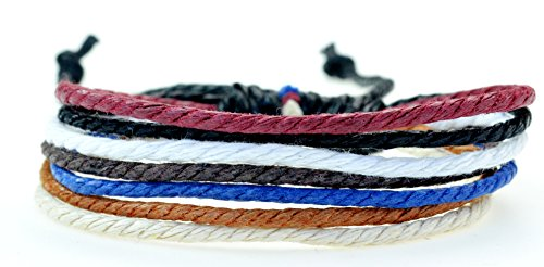 Fashion Jewelry handmade Multi strand hemp cord surfer adjustable bracelet - blue Pink brown black white and yellow colors