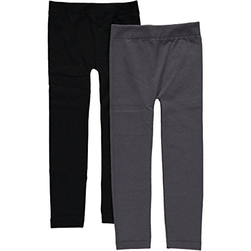 Star Ride Girls' Solid Fleece Leggings - 2 Pack (4/6X, Grey/Black) - Childrens Fleece Lined Leggings