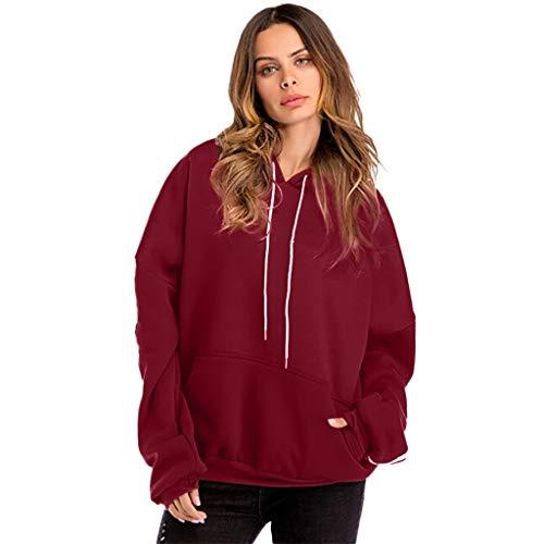 Women Plus Size Casual Solid Hooded Blouse Loose Striped Pocket Sweatshirt ()