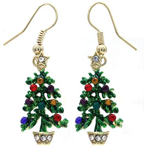 Happy Colorful Christmas Tree Earrings Hoop Dangle Drop