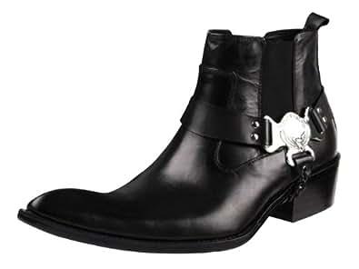 Men's Bright Genuine Leather Chic Tip Top Cowboy Boot Black Size 44 EU