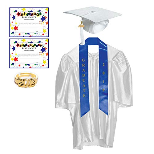 Medium White Shiny Preschool and Kindergarten Graduation Cap and Gown, Tassel and 2019 -