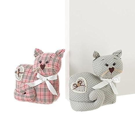 Dcasa - Sujetapuertas de gato de tela / arena romántico para salón Bretaña - Rosa: Amazon.es: Hogar