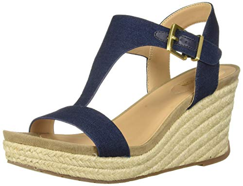 Kenneth Cole REACTION Women's Card Wedge T-Strap Espadrille Sandal, Indigo, 10 M US